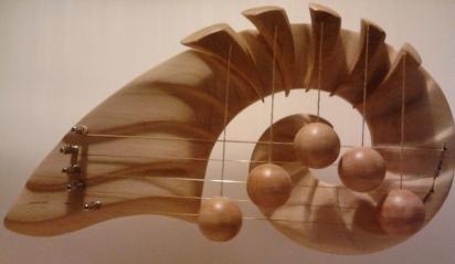 """Door Harp large """"Ammonite"""" from Alder wood"""